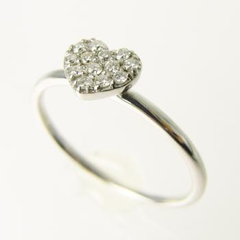 【オーダー注文】13石のダイヤモンドでハートをぎゅっと敷き詰めたリング(White)