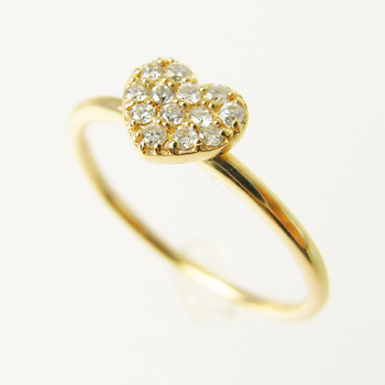 【オーダー注文】13石のダイヤモンドでハートをぎゅっと敷き詰めたリング(Pink)