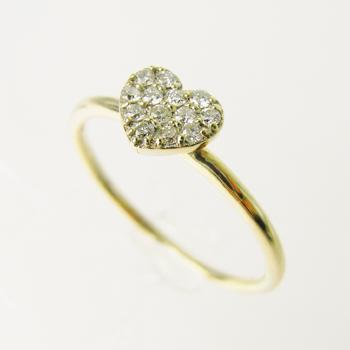 【オーダー注文】13石のダイヤモンドでハートをぎゅっと敷き詰めたリング(Yellow)