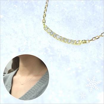 【クリスマス限定】K10天然ダイヤモンドラインネックレス