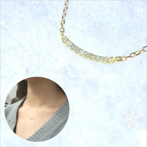 彼女にプレゼント「つつみこ~む」ラッピング対応 K10天然ダイヤモンドラインネックレス
