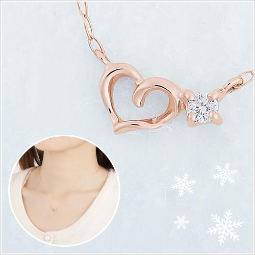 彼女に贈るプレゼントK10ハート&ダイヤモンドネックレス メッセージフラワー対応