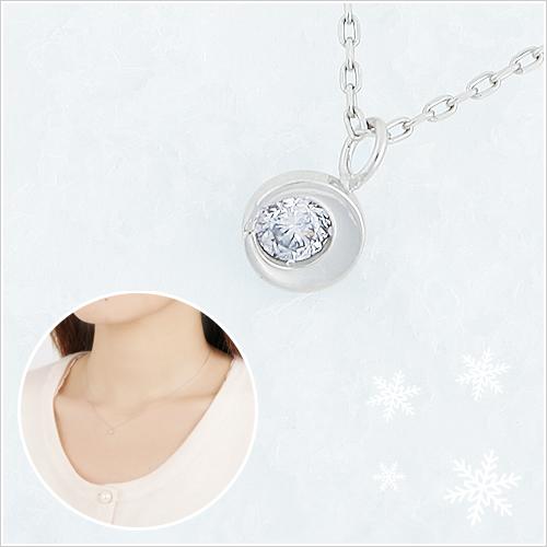 彼女にプレゼント「つつみこ~む」ラッピング対応 K10WGハーフムーンダイヤモンドネックレス