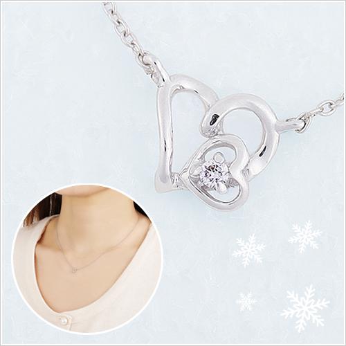 彼女にプレゼント「つつみこ~む」ラッピング対応 K10ダブルハートダイヤモンドネックレス